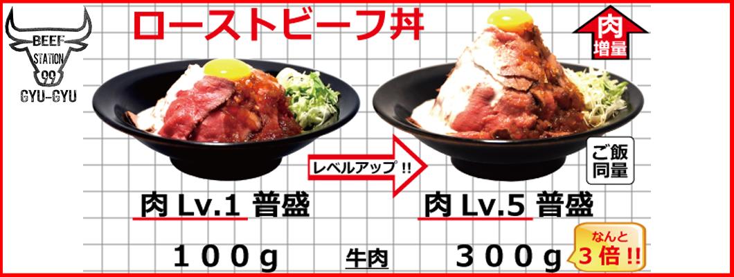 肉Lv.システム(ローストビーフ丼肉Lv.1→肉Lv.5比較)