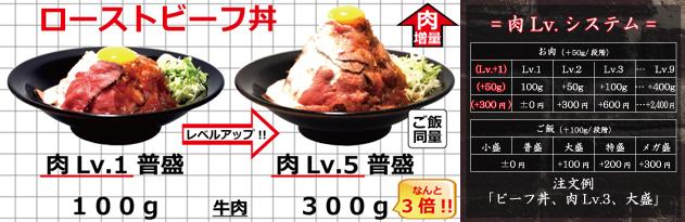 ローストビーフ丼肉Lv.5比較